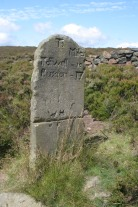 Old mileage stone on Houndkirk road, an old pack-horse route from Sheffield to Buxton