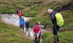 Leaving Kinder Gate on bog-trotting with Bill - a super walk