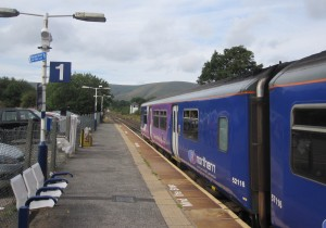 Our Northern Rail train leaves Edale, Manchester-bound