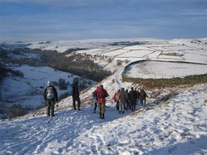 Winter walking near Great Hucklow
