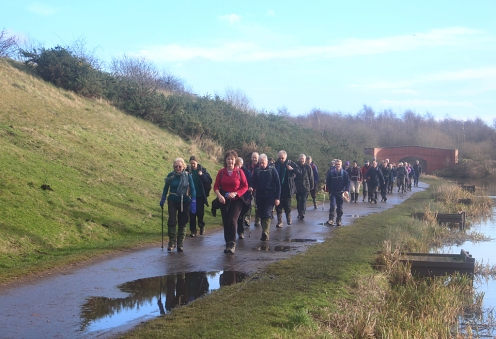 A Wednesday car group get some winter sun, navigating the Chesterfield Canal.