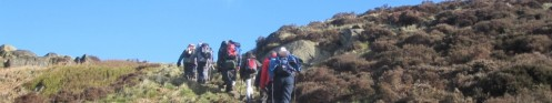 Climbing to Ashover Rock