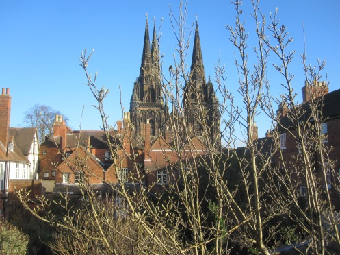 Lichfield Cathedral from Erasmus Darwin House