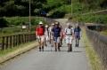 Crossing the dam at Valehouse Reservoir