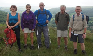 Andrea, Margaret, Graham, Jim, and John H on Froggatt Edge