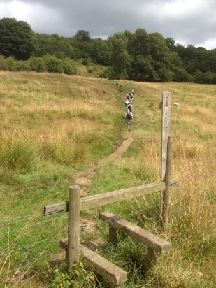Climbing out of Winster after lunch