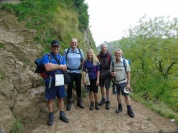 John N, Mike, Diane, Gordon, and John H at Thors Cave