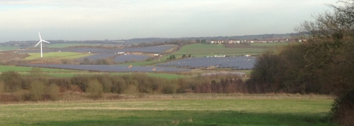 Solar panel crops near Arkwright get the benefit of rare winter sun