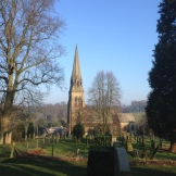 Edensor Church from the Kennedy grave