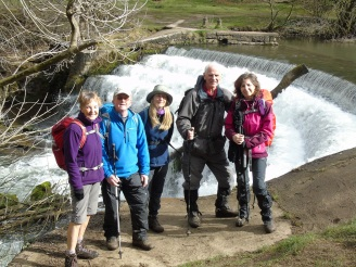 Margaret, John H, Diane, Marita at the weir on the Wye, Monsal Dale