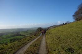 Fighting the wind on Longstone Edge
