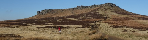 Mel in photographic action near Higger Tor