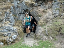 Simon and Diane leaving the cave