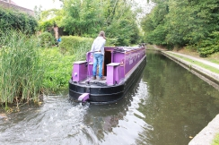 A very purple canal boat