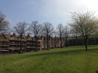 New Bolsover renovation continues, with the Castle in the distance