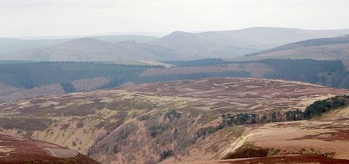 Lose Hill, the Great Ridge, Mam Tor and Rushup Edge from the top of Abbey Brook