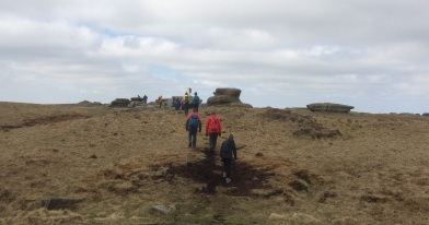 Approaching the trig point on Kinder Low